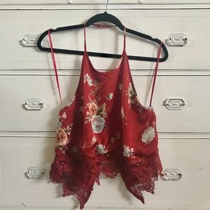 COTTON CANDY / Red Floral Halter Top / SZ L